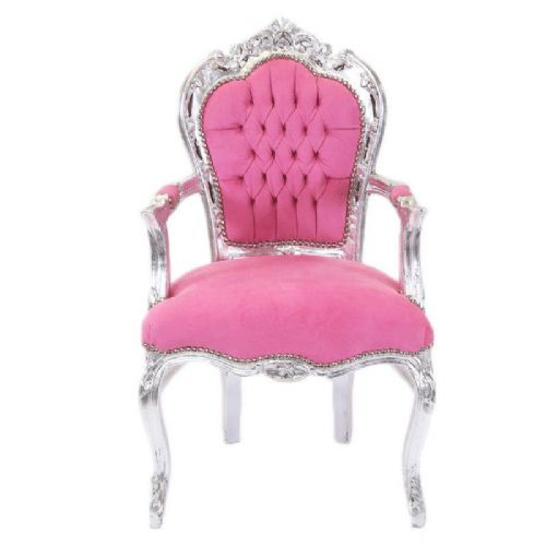 CHAIRS FRANCE BAROQUE STYLE DINING ROYAL CHAIR WITH ARMRESTS SILVER/PINK #70F31